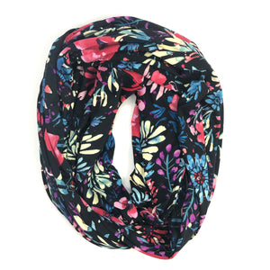 Navy Floral Infinity Pocket Scarf - Travel Scarf - The Poppy Stock