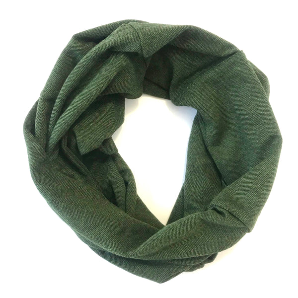 Green & Black Herringbone - Infinity Pocket Scarf - Travel Scarf - The Poppy Stock