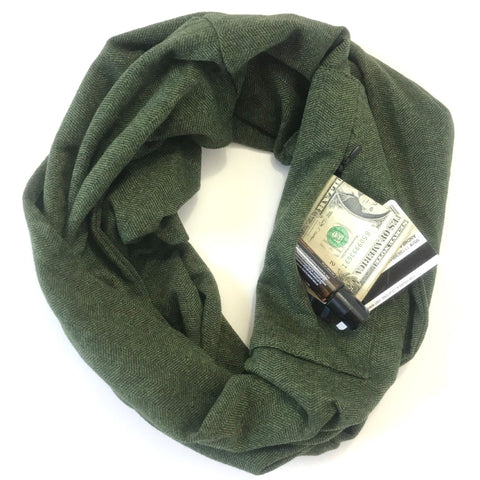 Green & White Herringbone - Infinity Pocket Scarf - Travel Scarf - The Poppy Stock