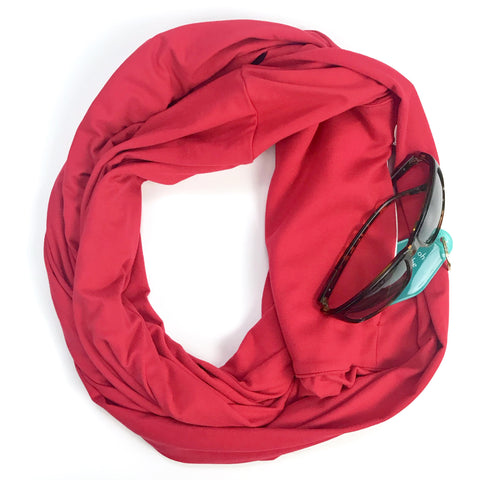 Red Infinity Pocket Scarf - Travel Scarf - The Poppy Stock