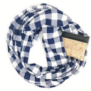 Blue & White Buffalo Plaid - Infinity Pocket Scarf - Travel Scarf - The Poppy Stock