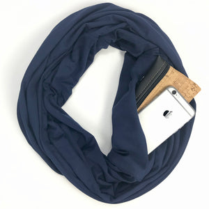 Navy Infinity Pocket Scarf - Travel Scarf - The Poppy Stock