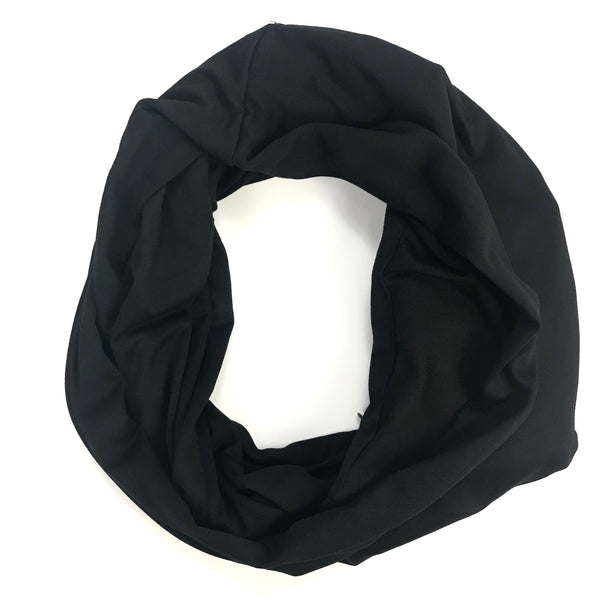 Black Infinity Pocket Scarf - Travel Scarf - The Poppy Stock