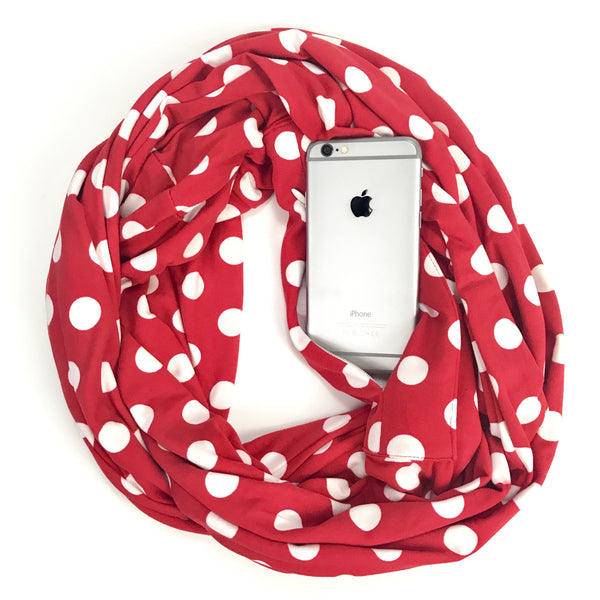 Red and White Polka Dot Infinity Pocket Scarf - Travel Scarf - The Poppy Stock