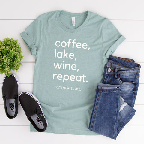 KEUKA LAKE T-Shirt ~ Coffee, Lake, Wine, Repeat - Staving Artist Woodwork