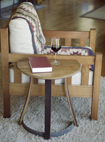 Reclaimed wine barrel side-table or entryway table. High quality, sustainable craftsmanship. Perfect gift for a wine lover.