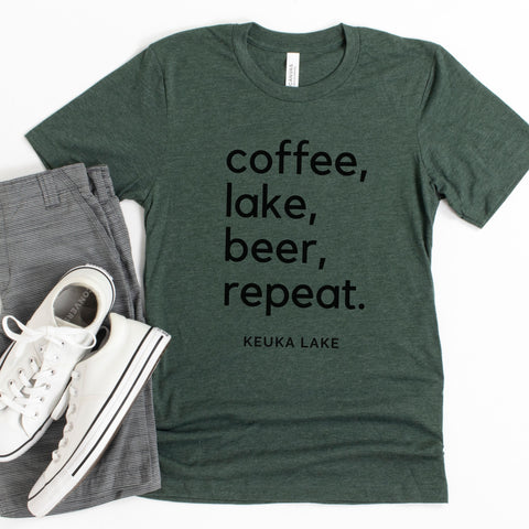 KEUKA LAKE T-Shirt ~ Coffee, Lake, Beer, Repeat - Staving Artist Woodwork