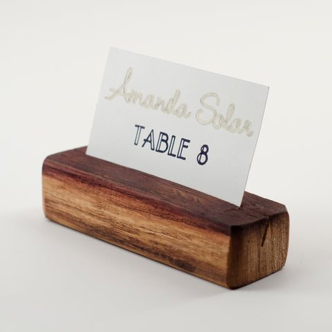 Wine barrel place card holders double as photo holder keepsakes for your guests. A wine country wedding must!