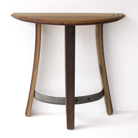 Reclaimed wine barrel end-table or entryway table. High quality, sustainable craftsmanship. Perfect gift for a wine lover.