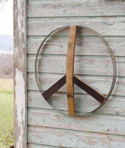 Wine Barrel Peace Sign - Staving Artist Woodwork