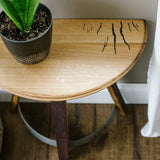 1/2 Barrel Head Demi Lune Table (In-store Pick-up ONLY) - Staving Artist Woodwork