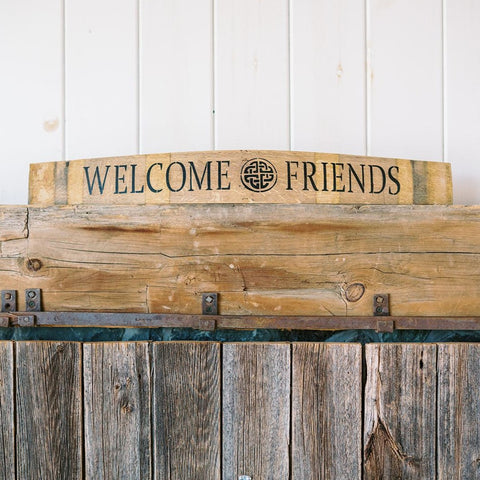WELCOME FRIENDS Wine Barrel Stave (Horizontal) - Staving Artist Woodwork
