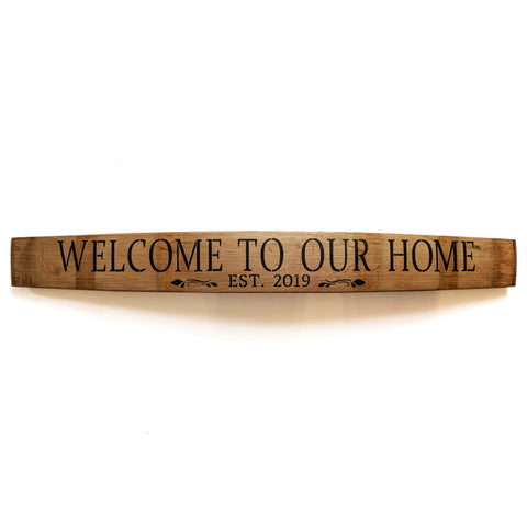 WELCOME TO OUR HOME  Custom Wine Barrel Stave Sign - Staving Artist Woodwork