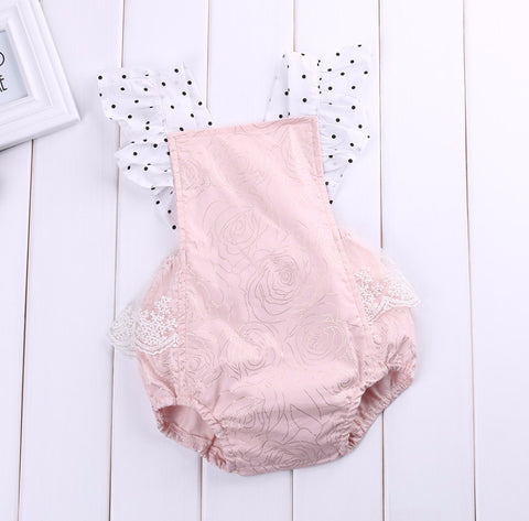 Carolyn Pink Lace Romper - Rose Print