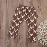 Deer Print Harem Pants - Brown