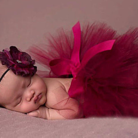 Burgundy Baby Tutu Skirt + Matching Pretty Flower Headband