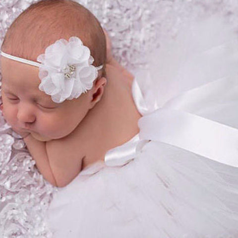 White Baby Tutu Skirt + Matching Flower Headband