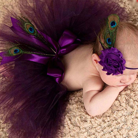 Purple Baby Tutu Skirt + Matching Flower Headband
