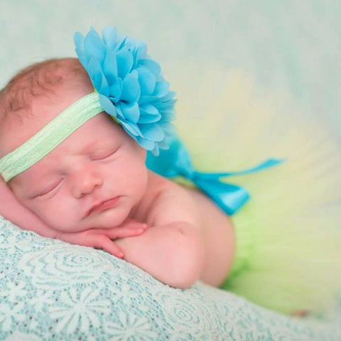 Green Baby Tutu Skirt + Matching Flower Headband