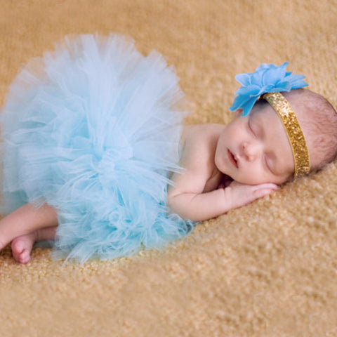 Sky Blue Baby Tutu Skirt + Matching Flower Headband