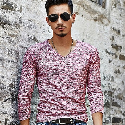 Casual Slim Fit Long Sleeved T-Shirt - Rosewood