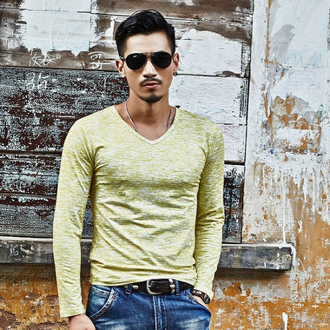 Casual Slim Fit Long Sleeved T-Shirt - Olive