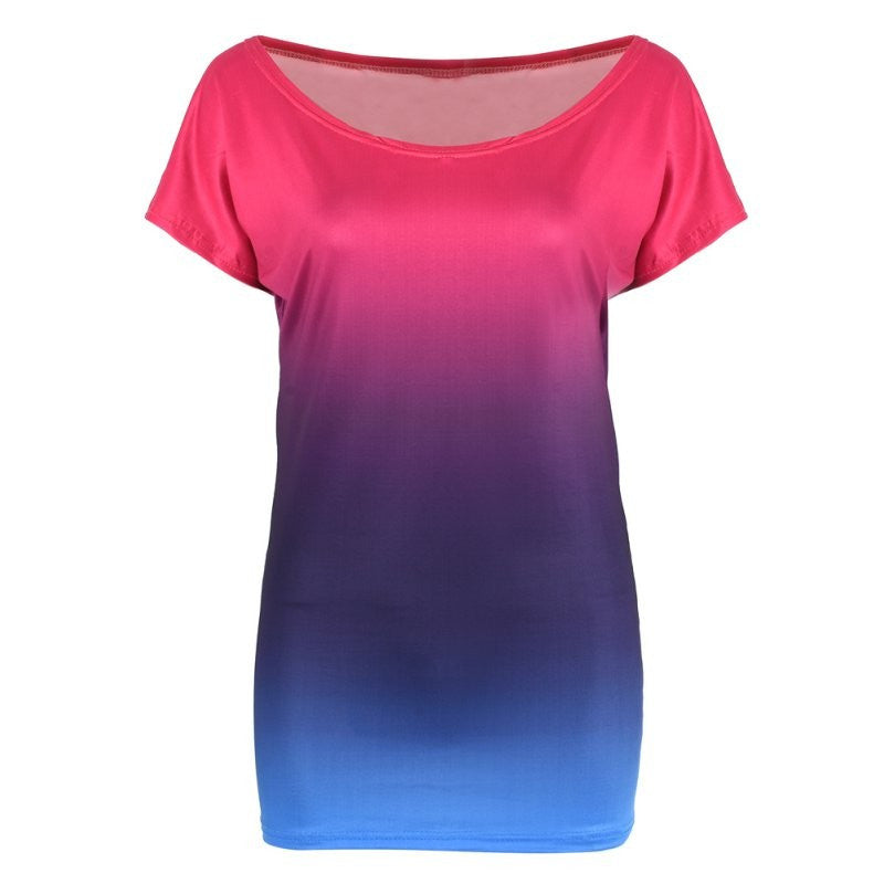 Off-the-shoulder Casual T-Shirt - Pink & Blue