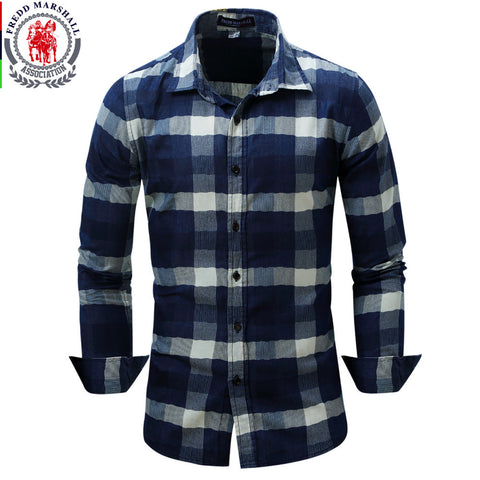 Fredd Marshall Casual Plaid Shirt
