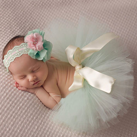 Mint Green Baby Tutu Skirt + Matching Flower Headband