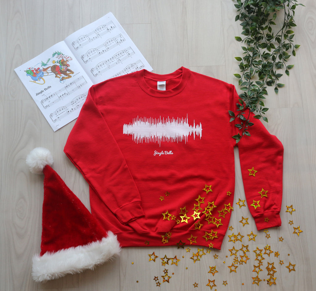 Christmas Bells Images.Jingle Bells Waveform Red Christmas Sweater