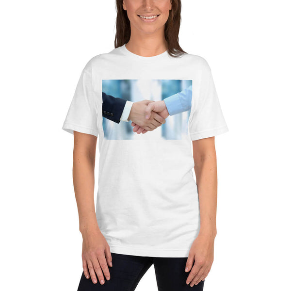 Female model wearing the Firm handshake between business associates T-shirt