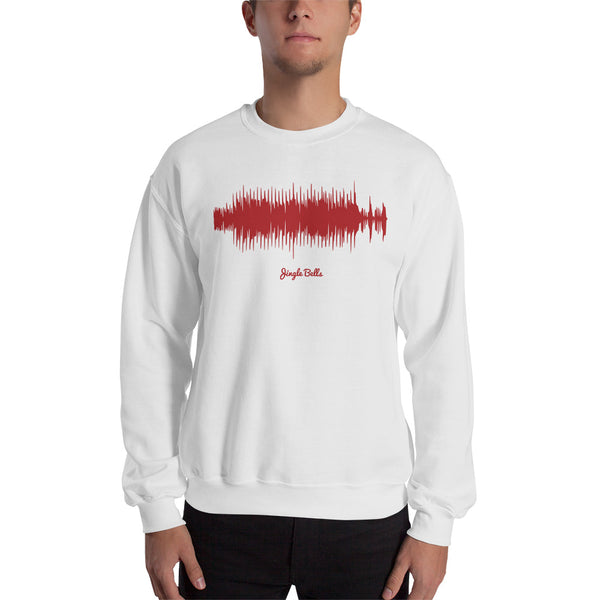 Male model wearing Jingle Bells Waveform (White Christmas Sweater)