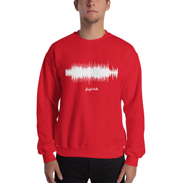 Male model wearing Jingle Bells Waveform (Red Christmas Sweater)