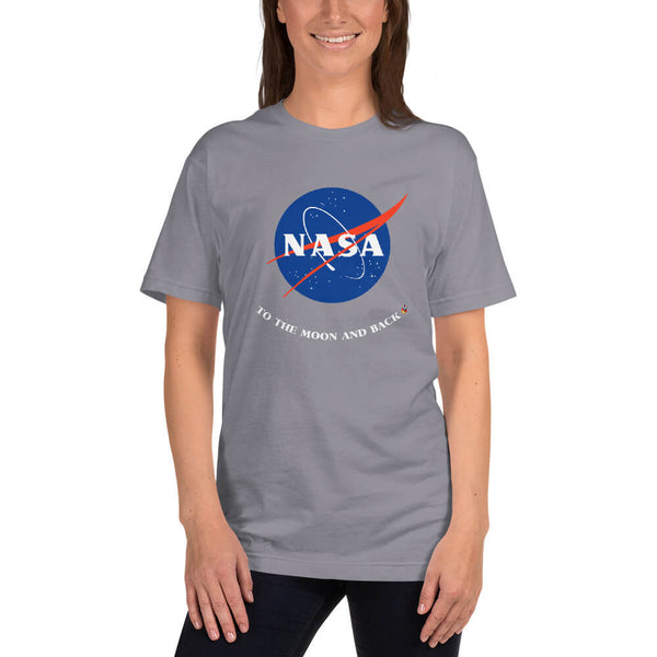 Female model wearing a slate (gray) NASA To the Moon and Back T-Shirt