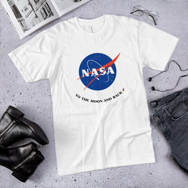 Lifestyle shot of a white NASA To the Moon and Back T-Shirt