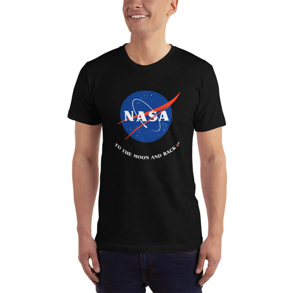Male model wearing a black NASA To the Moon and Back T-Shirt