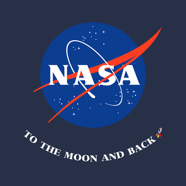 Graphic for the navy NASA To the Moon and Back Kids T-Shirt