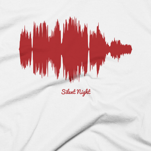 Close-up of Silent Night Waveform (White Christmas T-Shirt)