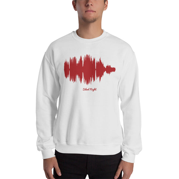 Male model wearing Silent Night Waveform (White Christmas Sweater)