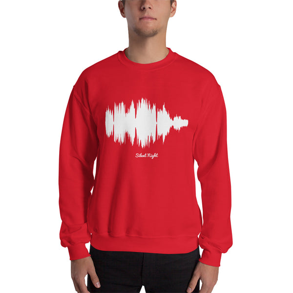 Male model wearing Silent Night Waveform (Red Christmas Sweater)