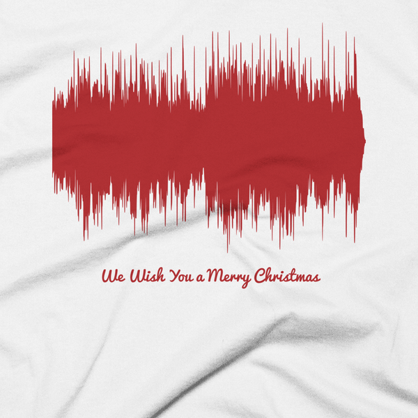 Close-up of We Wish You a Merry Christmas Waveform (White Christmas T-Shirt)