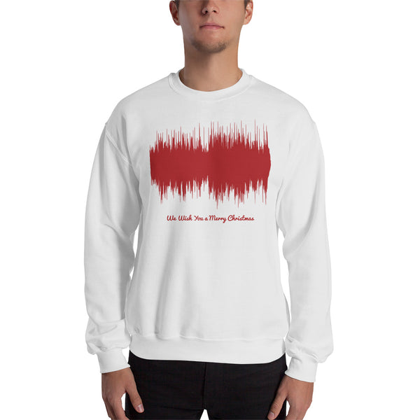 Male model wearing We Wish You a Merry Christmas Waveform (White Christmas Sweater)