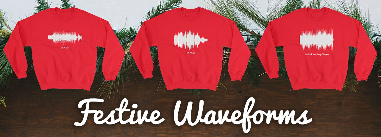 Festive Waveforms – Christmas T-shirts and sweaters for the holiday season