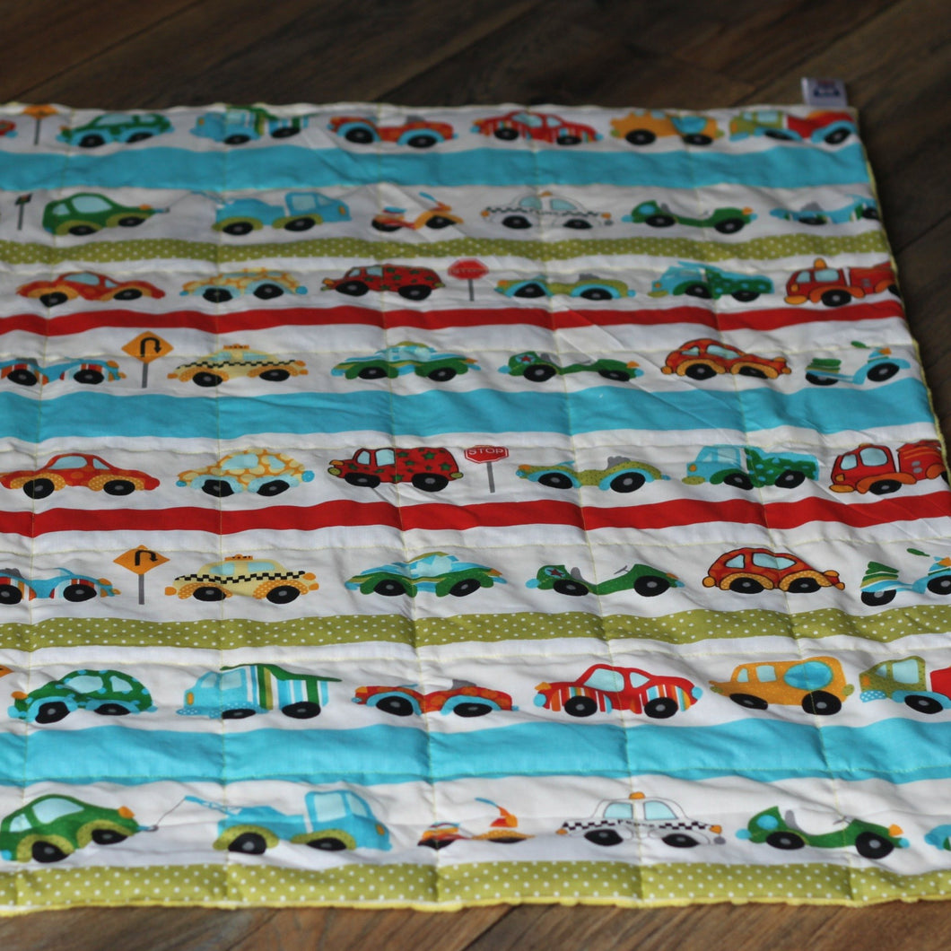 Toy Cars & Blue Minky Weighted Blanket | Sensory Owl