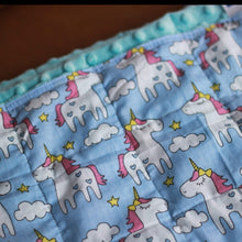 Laden Sie das Bild in den Galerie-Viewer, BLUE UNICORNS MINKY WEIGHTED BLANKET | SENSORY BLANKET