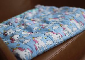 BLUE UNICORNS MINKY WEIGHTED BLANKET | SENSORY BLANKET