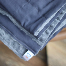 Load image into Gallery viewer, DARK GREY COTTON MINKY WEIGHTED BLANKET | SENSORY BLANKET