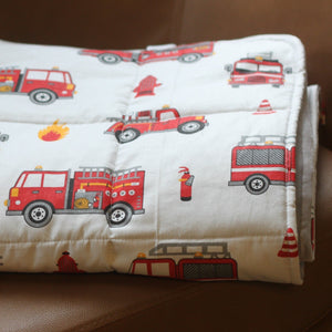 weighted blanket fire engine cotton patter with grey backing