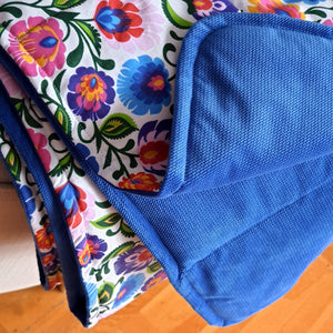 folk cotton with parisian blue velvet weighted blanket