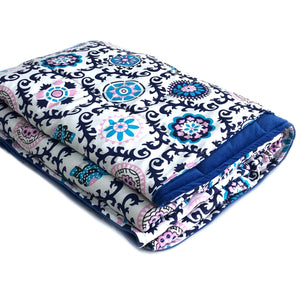 INDIE MOTIF VELVET BLUE BACKING WEIGHTED BLANKET